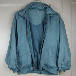 FUDA International Jackets & Coats - VTG Seafoam Silk Jacquard LightweightBomber Jacket